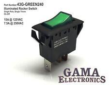 Single Pole Green Illuminated Off-On Rocker Switch 125/250VAC