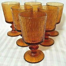 6 SUPERB RETRO AMBER GLASS BARK TEXTURED PORT/SHERRY GLASSES - AS NEW