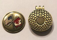 Golf HATCLIP Magnetic + Ball Mark Ballmark Ballmarker CANADA UAS FLAGS nhl NEW