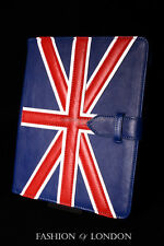 IPad 2 3 & 4 (Union Jack bleu peau d'agneau) Real Genuine Leather Cover Case Stand