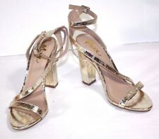 Women's Mixx Shuz Gold Metallic Ankle Strap Pillar Heel  Dress Sandal Size 7