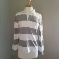 J.Crew - Women's 1984 rugby shirt in stripe in Heather Gray Ivory, M, NWT!