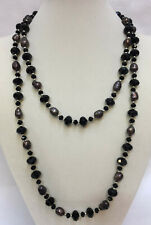 Necklace Black Glass Faceted Beads Silver Tone Metal Single Strand String