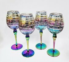 NEW SET OF 4 PRISM,IRIDESCENT SWIRL STRIPES METALLIC RAINBOW WINE GLASS, GOBLET