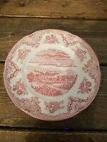 """Johnson Bros. Old Britain Castles Red & White Chatsworth Castle 8"""" Plate England"""