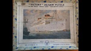 VINTAGE VICTORY WOODEN JIGSAW PUZZLE 'Liner Winchester Castle',  Boxed
