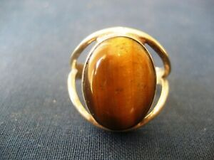 Handmade Solid 925 Sterling Silver & Tiger's Eye Gemstone Ring Tiger 925452