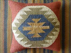 18X18 Jute Kilim Cushion Cover Hand Woven Throw Pillows Boho Sham Indian Cushion