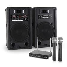 Impianto Karaoke Audio Coppia Casse Attive Party HiFi Radio Microfoni 2 Canali