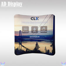 8ft*7.5ft Curved Tension Fabric Banner Stand With Single Side Printed Graphic