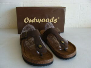 OUTWOODS BROWN BORK-53 CLOG THONG STYLE SANDALS - 11 - NEW IN BOX