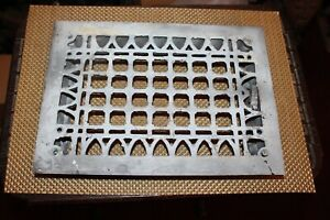 Antique Victorian Register Heating Grate Vent #24 Cast Iron Scrolls Rectangular