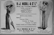 PUBLICITÉ PRESSE 1911 H.J.NICOLL AMAZONES VÊTEMENTS D'AUTO DE VOYAGE ET SPORT