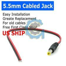 DC Power Jack Adapter Plug Male Pigtails 5.5mm x 2.1mm 30cm/12in 12V Port