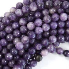 Natural Purple Lepidolite Round Beads 15.5