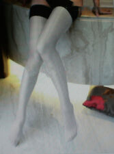1 Pr Semi Opaque Sheer Super Shiny Nylons Stockings Sz 12Xlx38 White/Blk
