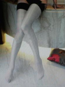 1 Pr Semi Opaque Sheer SUPER SHINY Nylons Stockings Sz 12XLx36 White/Blk