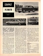 1967 PLYMOUTH VALIANT 100 / SIGNET ~ ORIGINAL NEW CAR PREVIEW ARTICLE / AD