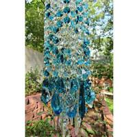 Blue Aurora Crystal Wind Chimes Glass Hanging Ornament Decor Home Garden D6W8