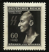 Germany Heydrich SS Lighting Bolts Death Mask Mint Nazi Occupied Bohemia Stamp