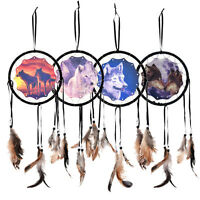 35cm Handmade Dream Catcher With Feather Wall Hanging  Decorations Ornament-Wolf
