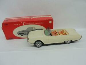 1960'S BANDIA JAPAN FRICTION #833 FORD THUNDER BIRD CONVERTIBLE CAR TOY W/ BOX