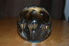 Beautiful Clear Round Glass (Art) Paperweight With Unique Symmetrical Design