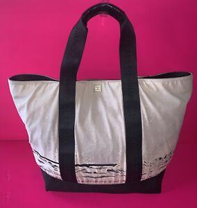 Chanel Bag Tote Shopper Light Grey x Black Beach Water Shore Waves CC Logo