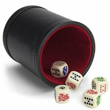 Poker Dice Bundle: Set of 5 Poker Dice with Bicast Leather Dice Cup