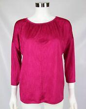 Chicos Womens Size 1 Medium 8 Fuchsia Pink Silky Stretch 3/4 Sleeve Blouse Top