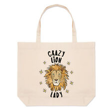 Crazy Lion Lady Stars Large Beach Tote Bag - Funny Animal Shopper Shoulder