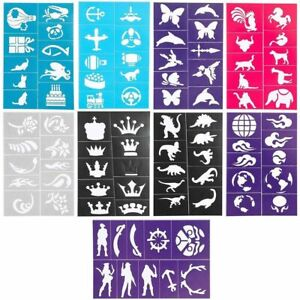 Face Paint Stencils in 110 Designs for Kids and Colored Sand (11 Sheets)