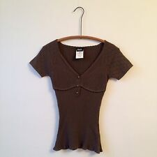 D&G 100% Cotton Lt Brown Crochet Ribbed Knit Top Sweater Sz Xs EUC