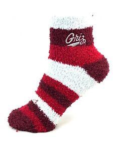 Montana Grizzlies Maroon & White Rainbow Stripe Fuzzy Socks