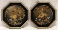 Pair Antique Victorian Lacquered Painted Mother Of Pearl Hand Fan Face Screen