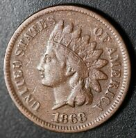 1868 INDIAN HEAD CENT With LIBERTY - FINE/VF