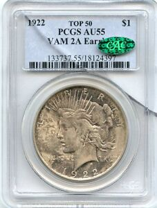 "C3914- 1922 VAM-2A ""EAR RING LDS"" TOP 50 PEACE DOLLAR PCGS AU55 CAC"