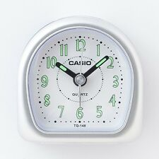 Casio TQ148-8D Travel Desk WAKE UP Alarm Clock Resin Case Small Portable SILVER