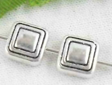 40Pcs Zinc Alloy Square Spacer Beads Findings 6.5x3mm (Lead-free)