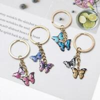 Colorful butterfly keychain ring women wallet insect pendant jewelry R7D0 K6H9