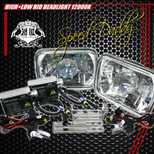 7X6 H6054 CLEAR SQUARE DIAMOND PROJECTOR LIGHTING HEADLIGHTS W/H4 12000K HID