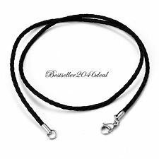 Twisted Braided Rope Leather Cord Womens Mens Silver Clasp Necklace Chain 22""