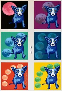 George Rodrigue Blue Dog Untitled Moon Series Silkscreen Print Signed Numbered