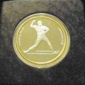 CAL RIPKEN BALTIMORE ORIOLES 999 SILVER W/ 24KT GOLD ROUND ENVIROMINT COIN 1/500