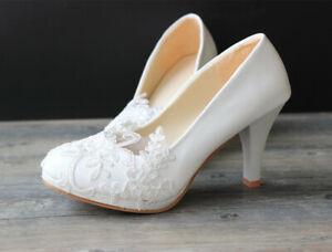 Womens Bridal Lace Shoes Wedding Classic Heel Pumps Bridal Bridesmaid