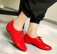 New Womens Lady Lace Up Flats Ankle boots Patent Leather Oxfords Shoes Plus Size