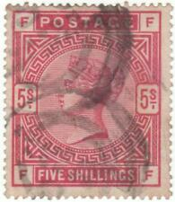 QV..  SG181... 5 SHILLINGS USED STAMP