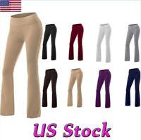 Women High Waist Yoga Slim Pants Flare Boot Leg Cut Stretch Bottom Lounge Jogger