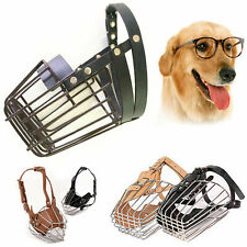 Metal Wire Leather Basket Cage Dog Mouth Muzzle w Adjustable Straps No Bite Bark