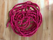 Vintage Red Cranberry Wood Wooden Bead Christmas Tree Country Garland Farmhouse